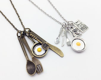 CHEF Necklace Chef Jewelry Chef Gift Cook Jewelry Cook Necklace Cook Gift Kitchen Tools Necklace Kitchen Tools Charms Spoon Necklace Pendant