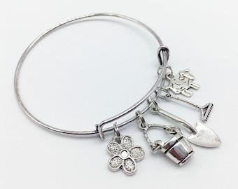 GARDENER Bracelet Bucket Bracelet Shovel Bracelet Rake Bracelet Gardener Jewelry Gardener Gift Shovel Pendant Bucket Pendant Rake Pendant