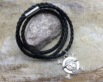 Pirate Skull Bracelet Faux Leather Bracelet Pirate Charm Bracelet Pirate Gift Pirate Jewelry Women's Bracelet Men's Bracelet Skull Bracelet