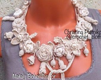 Crochet flower necklace boho wedding bridal necklace beige ivory brown handmade jewelry knit macrame / In STOCK