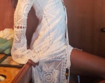 Boho maxi dress  crochet gipsy white lace hippie wedding goddess Pitbull Timber Dress