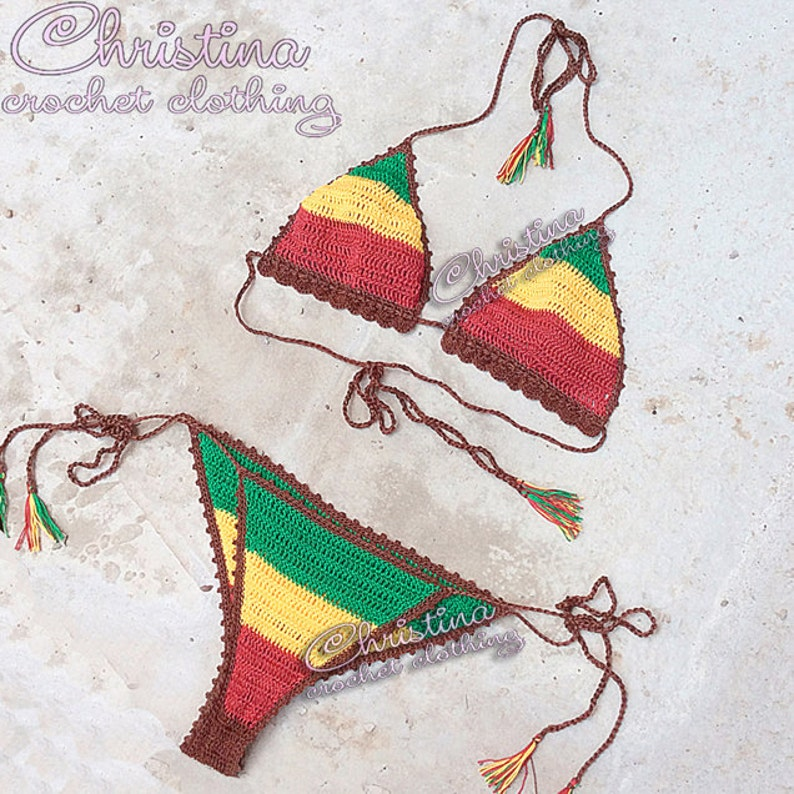 e70c91cbfa129 Rasta bikini crochet top and bottom Rastafarian Jamaica Cuba