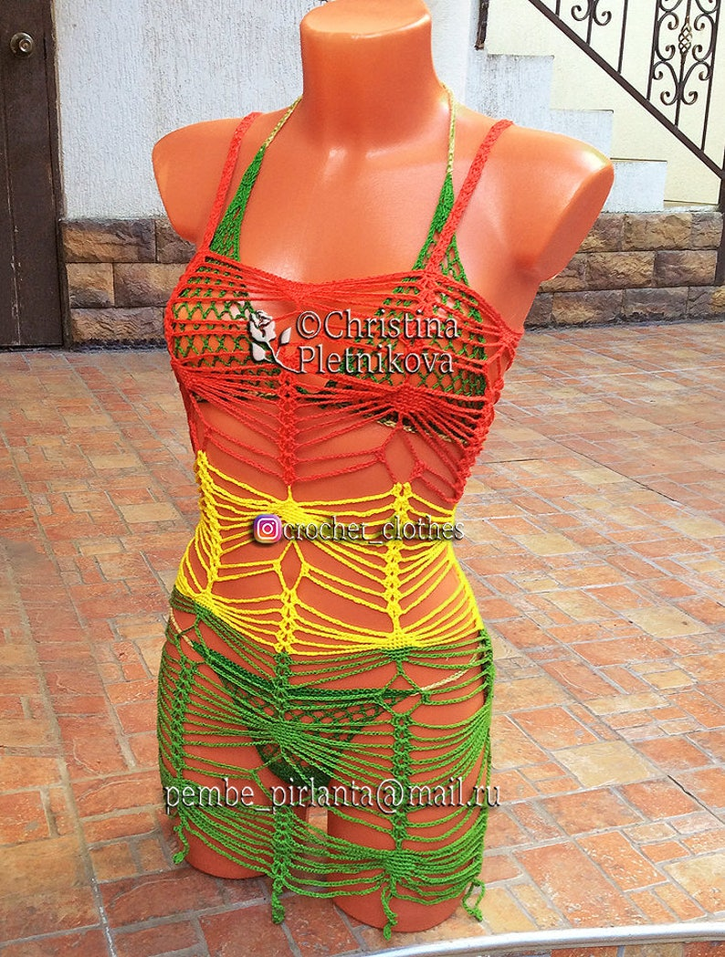 766d947fe0 Rasta crochet beach cover up tunic sun dress top net
