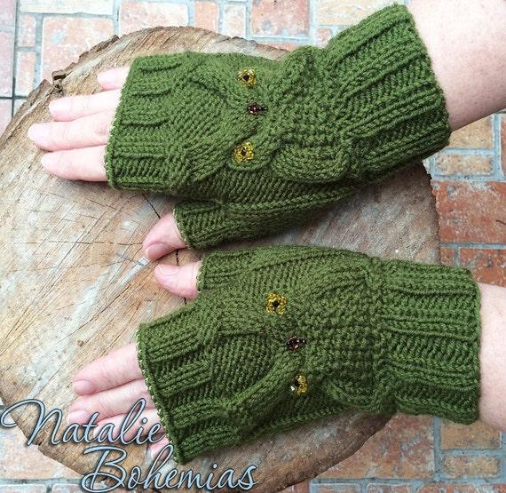 Handmade Crocheted Rasta Color Fingerless Gloves