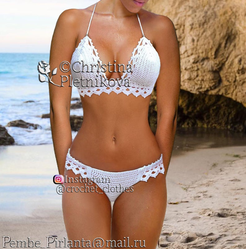 a597f6c0fb742 Bikini Crochet white Honeymoon swimsuit island sea wedding
