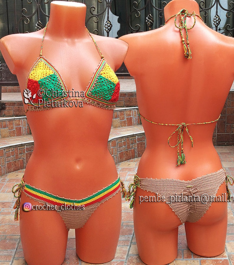 19bf765617c29 Rasta Crochet bikini top and brazilian cheeky scrunch bottom