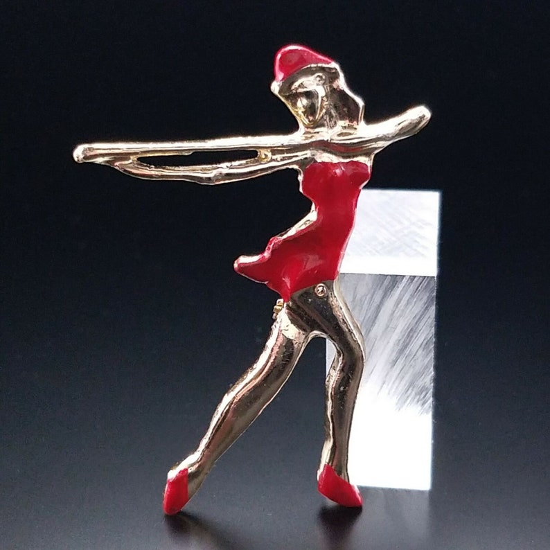 Vintage 50S Majorette Marching Band Brooch Estate Jewelry Figural Pin