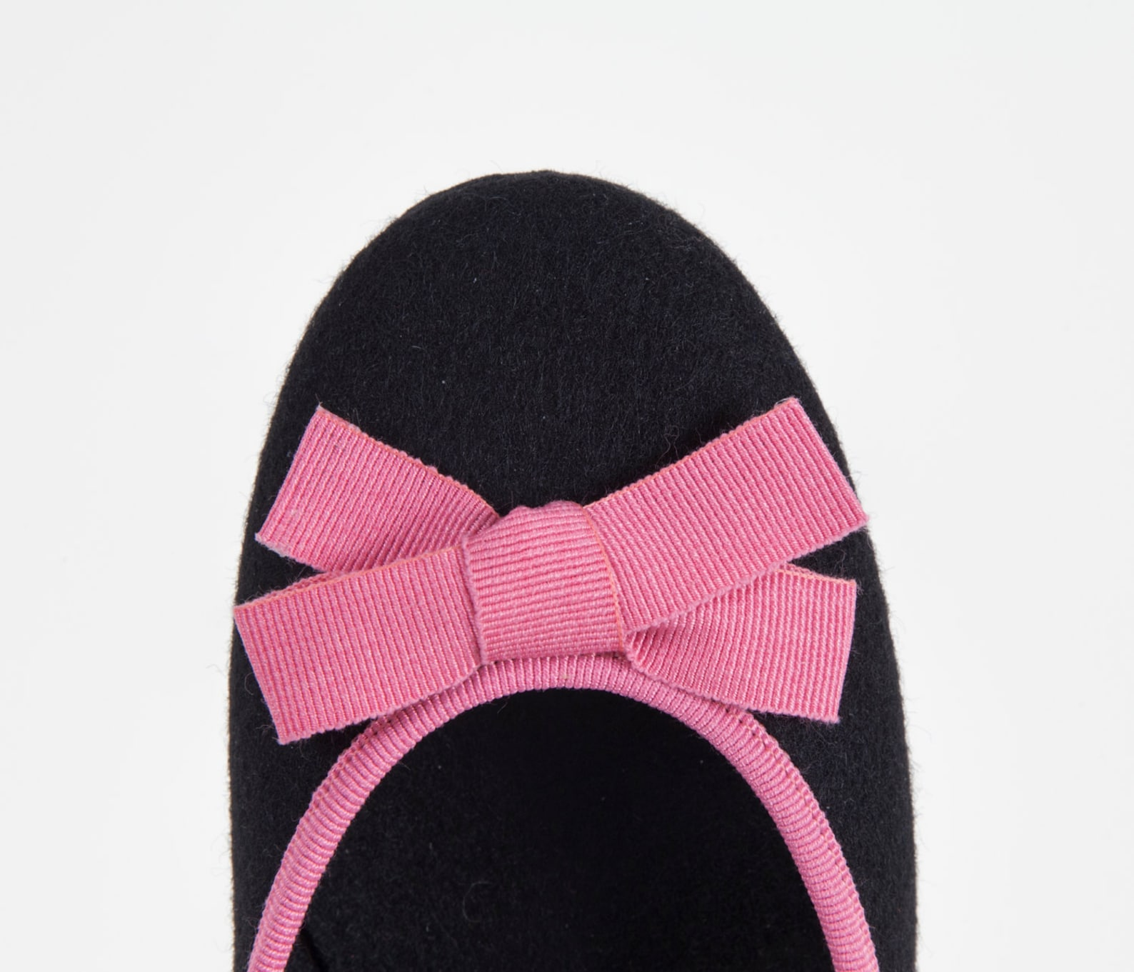 women's slippers- black ballet flat- merino wool felt- handmade in italy- grosgrain ribbon & bow- size eu 36