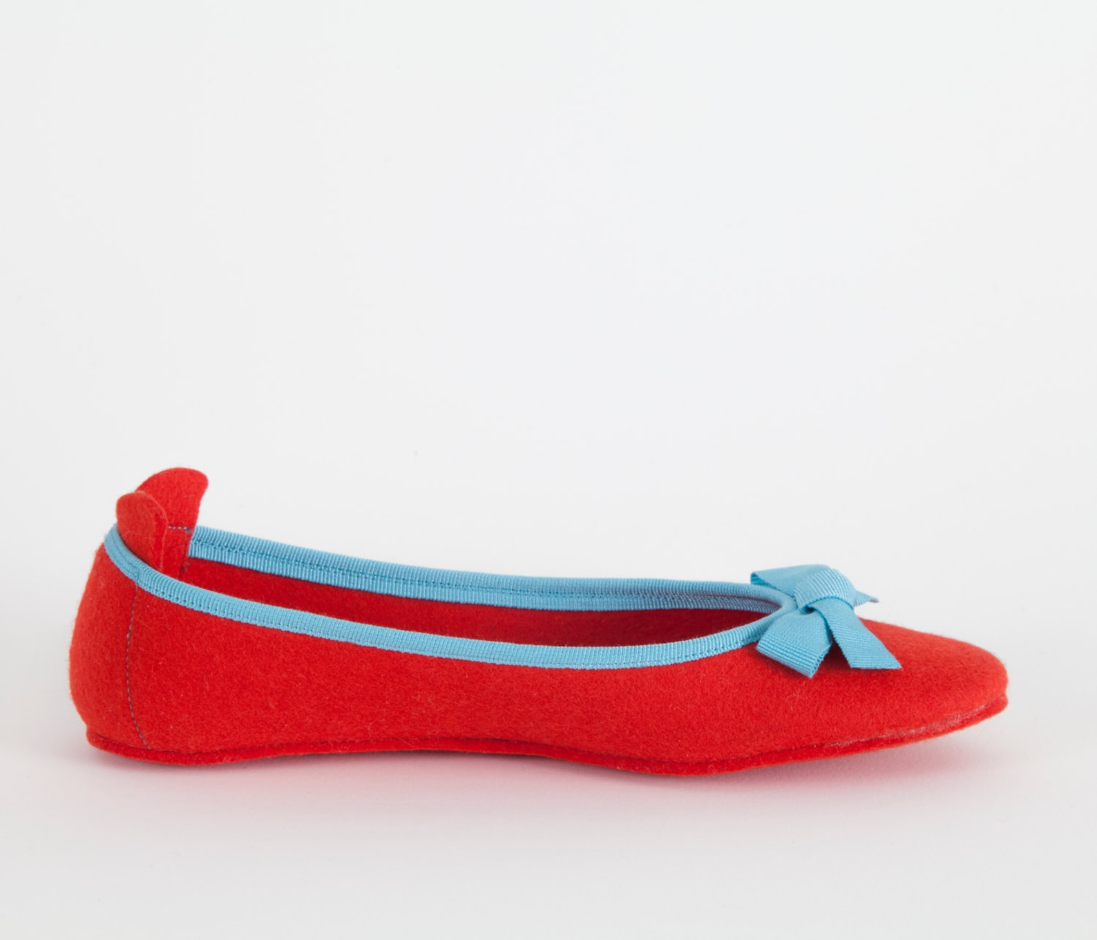 women's slippers- red ballet flat- merino wool felt- handmade in italy- grosgrain ribbon & bow- size eu 36
