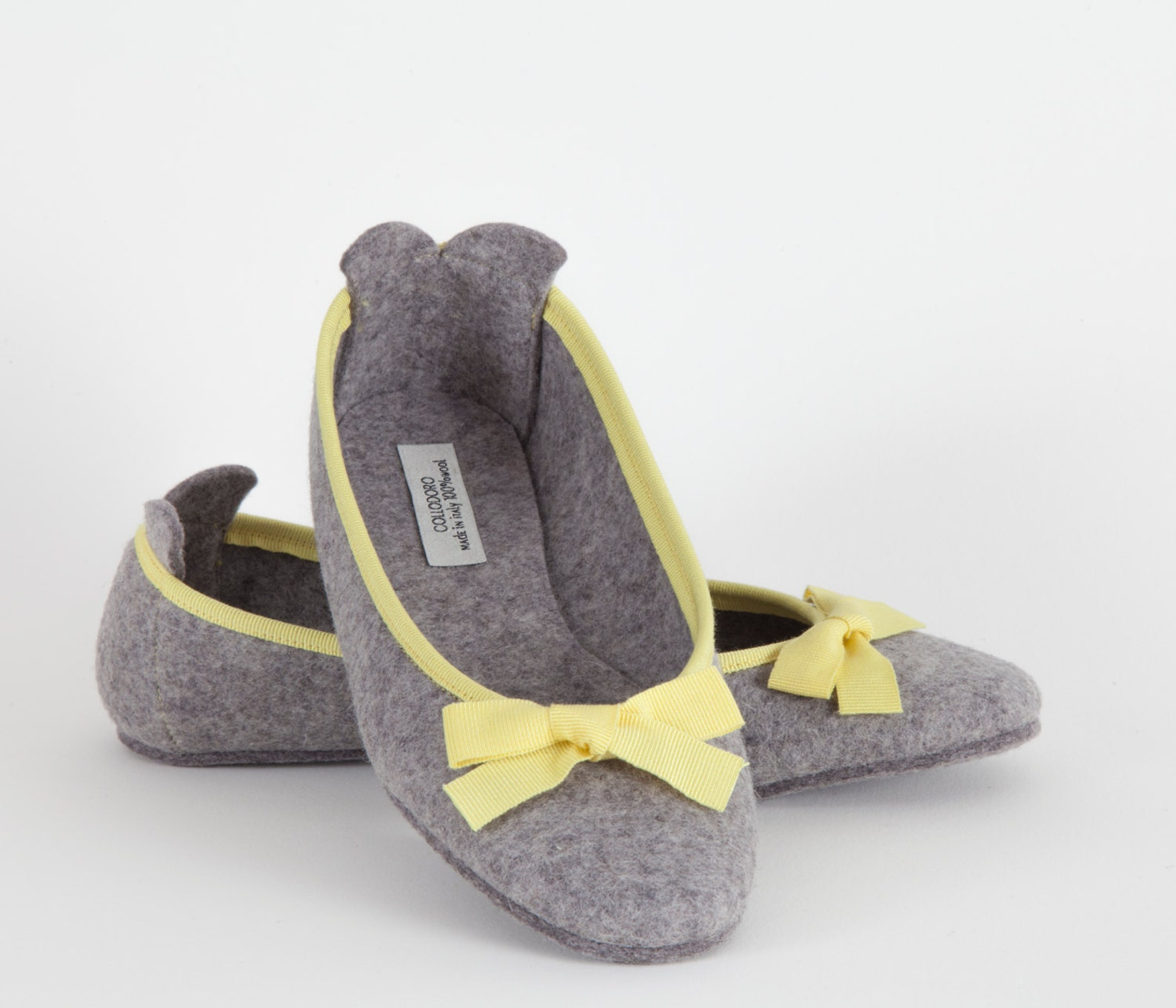 women's slippers- gray ballet flat- merino wool felt- handmade in italy- grosgrain ribbon & bow- size eu 38