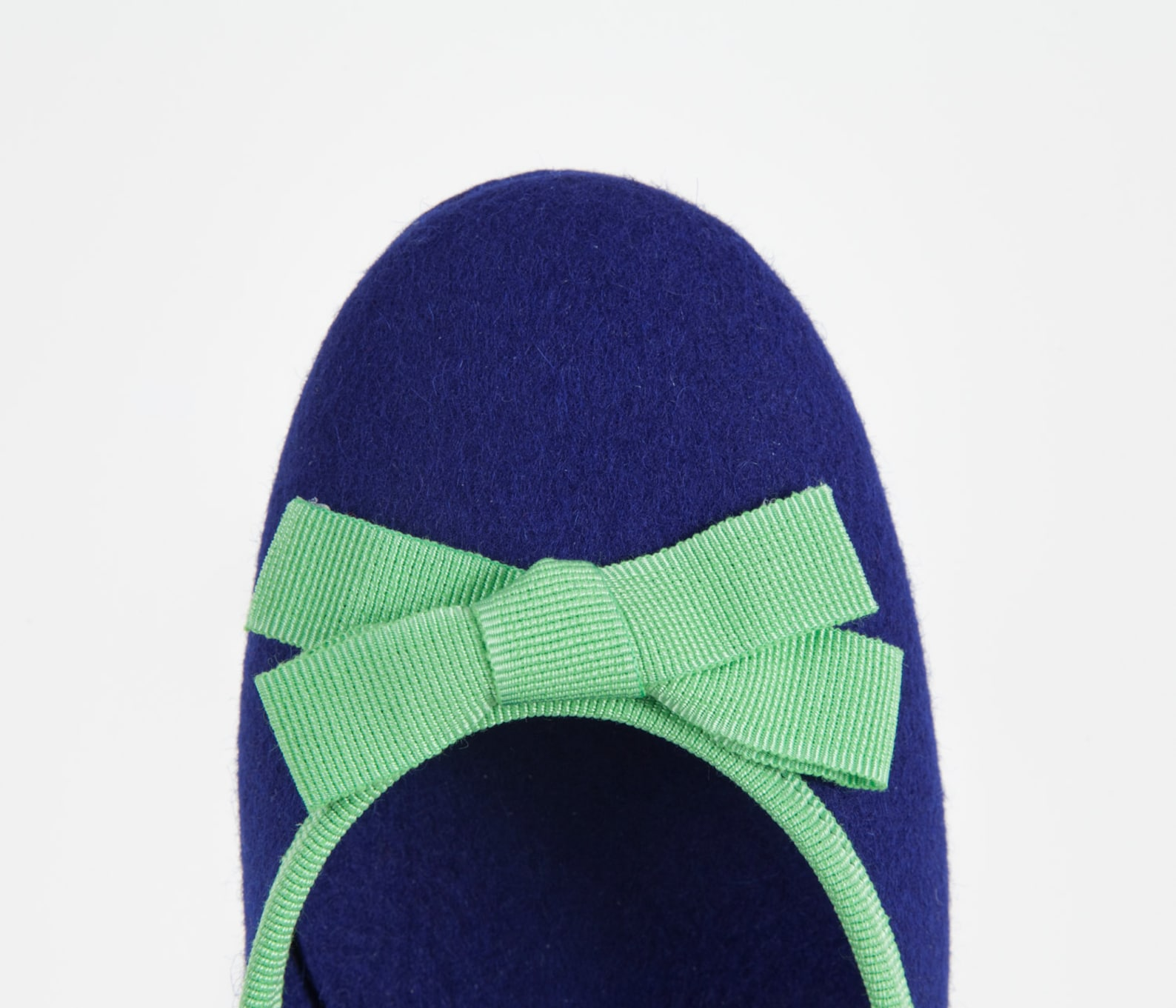 women's slippers- blue ballet flat- merino wool felt- handmade in italy- grosgrain ribbon & bow- size eu 36