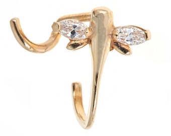 Zahaav Jewelry 10kt Solid Yellow Gold Nose Ring Flower Design with L Shape Post
