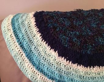 Circular Crochet Blue Rug/Blanket