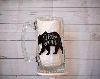 26oz Papa Bear Glass Stein