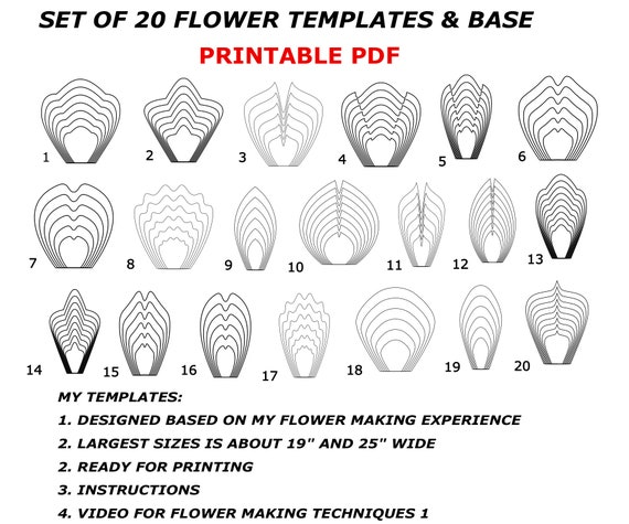 image about Printable Flowers Templates called Printable Flower Template Bundles, Paper Flower Templates, Higher Paper Flower Template, Flower Petal Template, Paper Flower Plans