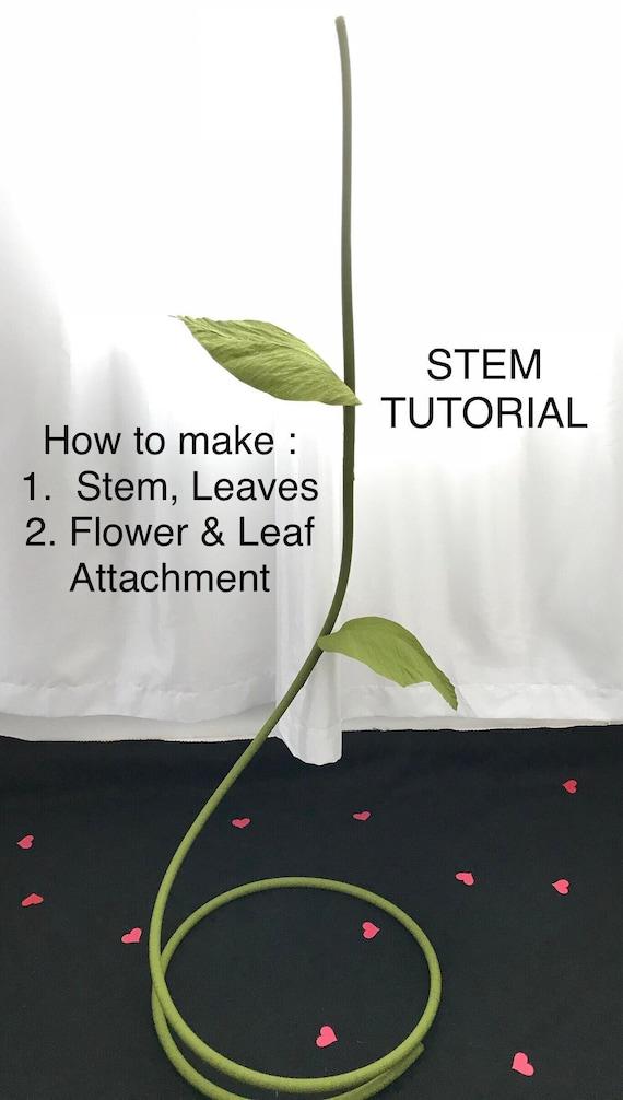 Giant Flower Stem Tutorial Diy Large Flower Stem Giant Paper Etsy