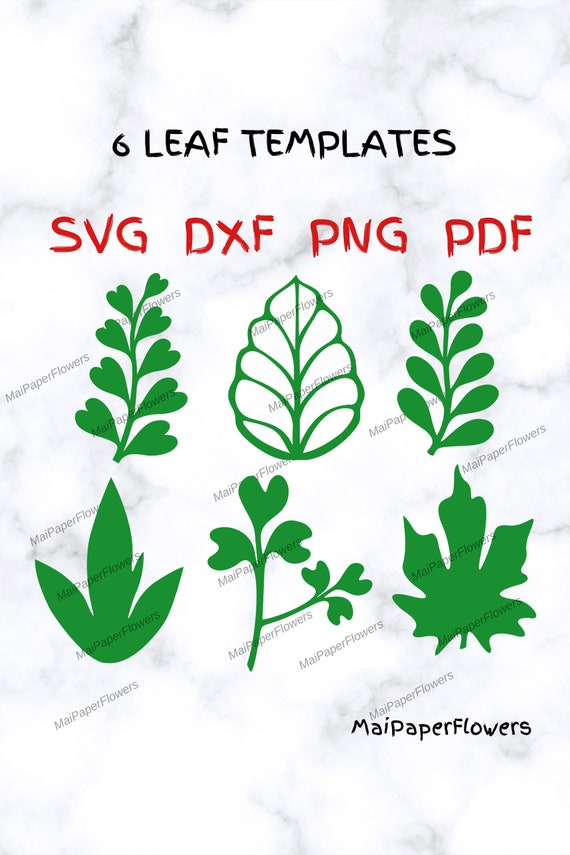 6 Paper Flower Leaves Templates Svg Pdf Dxf Png Branches Svg Etsy