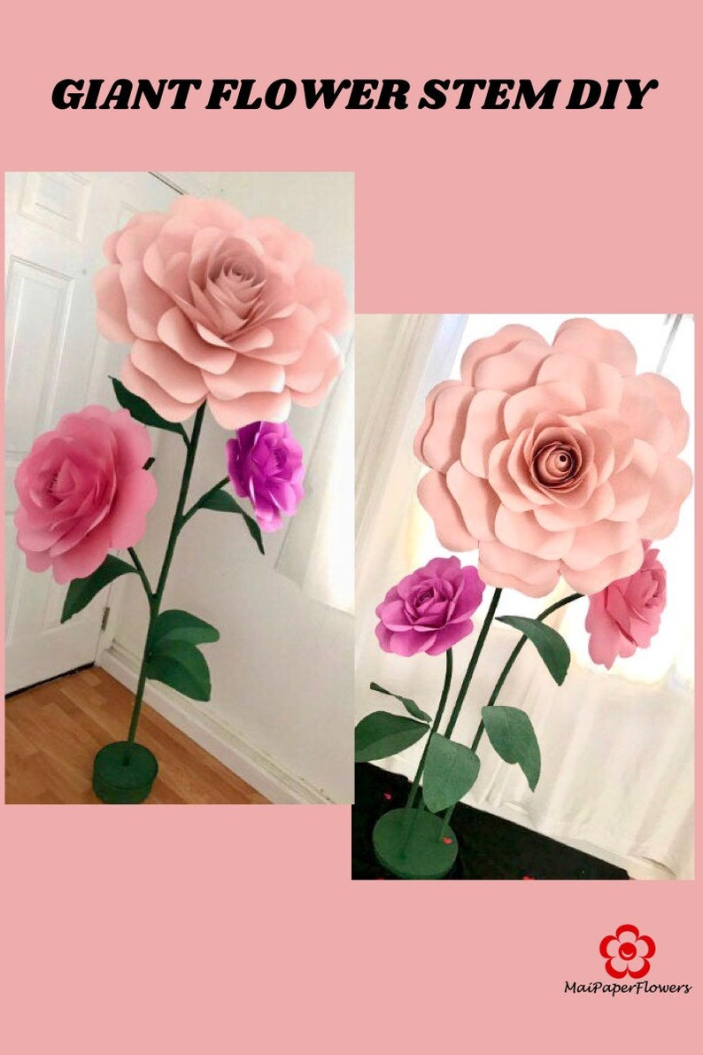 Giant Paper Flower Stems Tutorial Large Paper Flower Stems Etsy