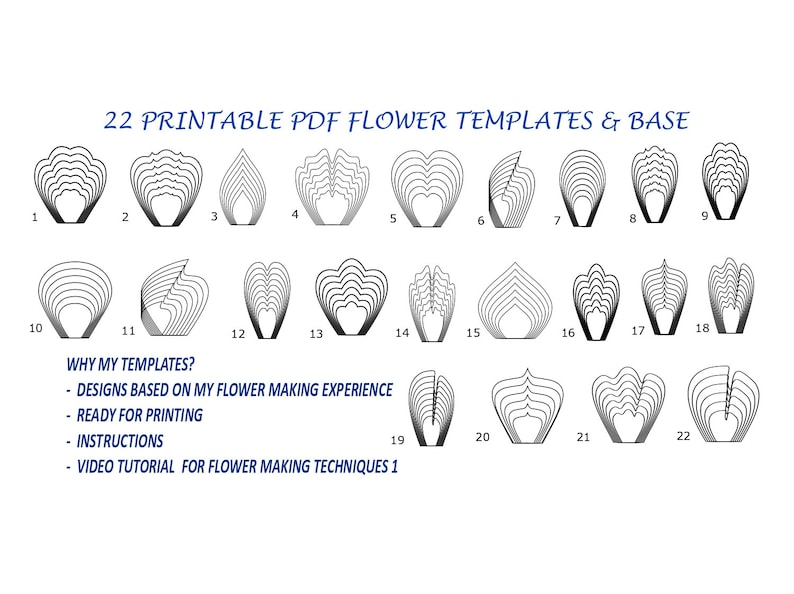 graphic relating to Flower Templates Printable titled Printable Paper Flower Template, Printable Flower Templates, Flower Template, Big Paper Flower Template, Flower Petal Template