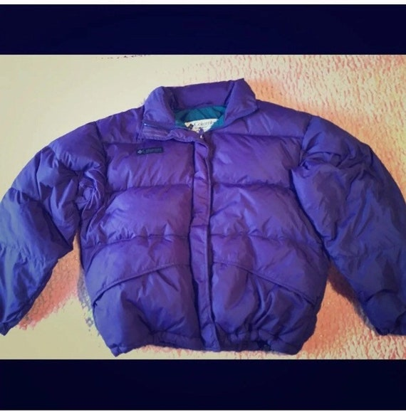 Vintage 80s Columbia Brand Purple Puffer Coat