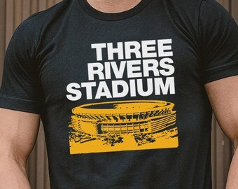 8fdb4f8205 Three Rivers Stadium Pittsburgh Unisex Short Sleeve T-Shirt - Bygone Brand  Retro Sports Tees