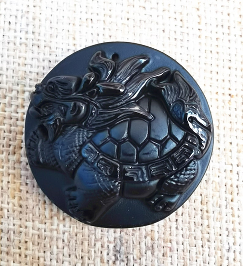 natural obsidian pendant carved Chinese dragon turtle mascot