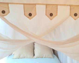Schöne 100 % Baumwolle Bett Baldachin Moskitonetz Passt Bis Zu  Queen Size Bett, Kostenloser Versand