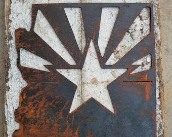 "AZ State Flag - Metal AZ Flag Sign - State 48 Flag Sign- Home Sign 12"" x 10"" Rusted Housewarming Sign"
