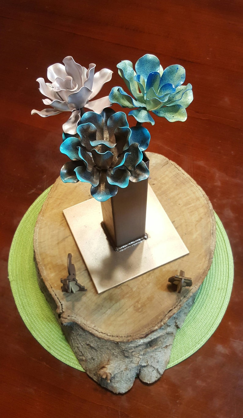 """Metal flowers  Custom Hand Made flowers perfect for 3x12"""" w/ Metal Vase inches"""