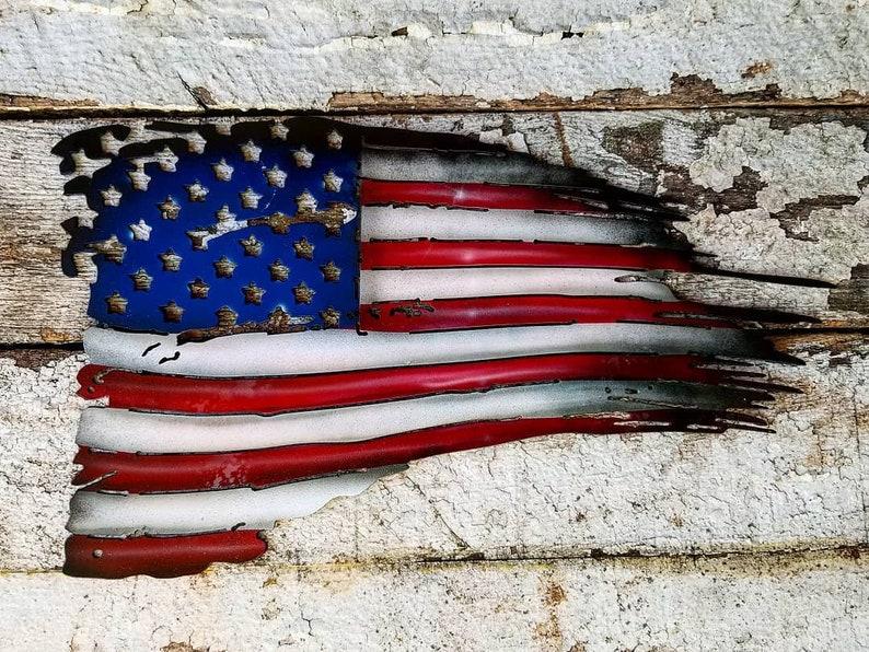 Tattered Flag  Metal American Flag  Memorial Day  4th of image 0