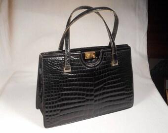 fabulous vintage handbag leather bag genuine!