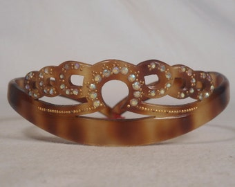 fabulous hairs combs peigne 1960 diademe carved decorated frame france rare