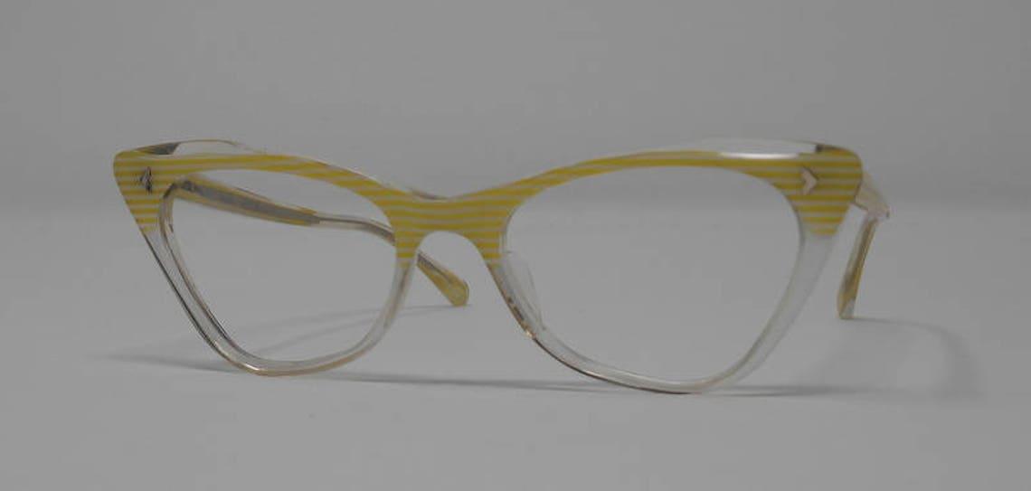 fabulous vintage glasses lunettes eyeglasses 1960 cat eye carved frame france rare