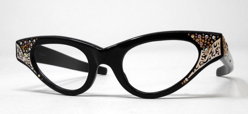 fabulous vintage lunettes eyeglasses 1960 cat eye carved decorated frame france rare