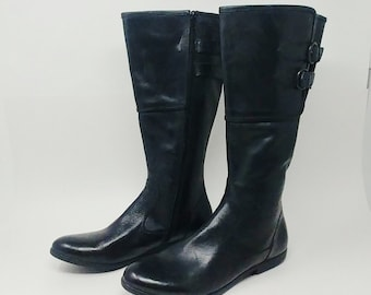 421547d93f7 Wide Calf Knee High Full Grain Leather Black Boots