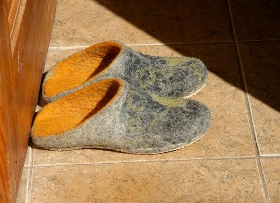 Donner Merci cadeau gris - femmes feutrées gris cadeau dos nu slip - pantoufles de feutre de laine naturelle style scandinave bouillie mules laine - chaussures maison a3e44e