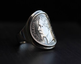 Anello in argento - moneta - Napoleone