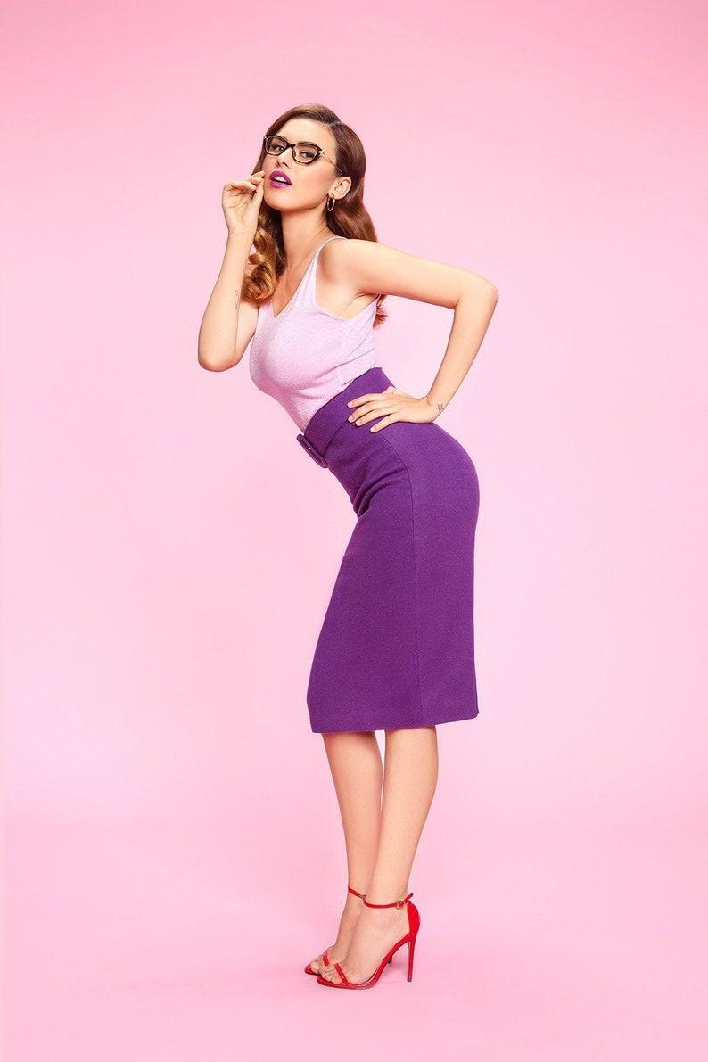 5a7d96f8c5c Taille crayon jupe violet style dhiver tissu de laine