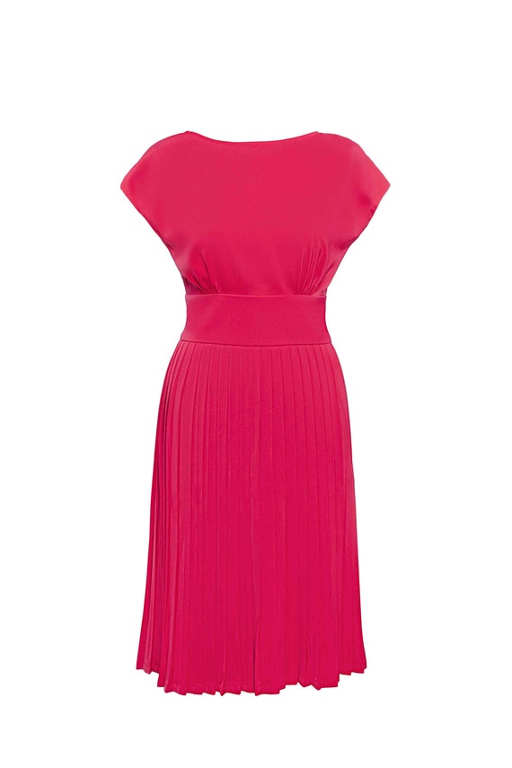 short slitted sleeves Betty/'s ACCORDION PLEATED dress