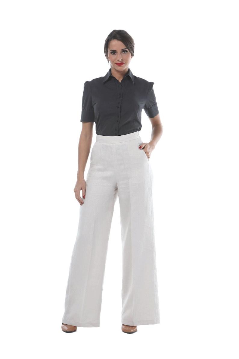 1940s Swing Pants & Sailor Trousers- Wide Leg, High Waist HIGH WAIST PANTS light beige linen flare cut $36.53 AT vintagedancer.com