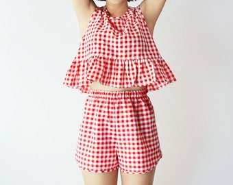 411e969adcce Gingham two piece co ord matching set -- Ruffle hem sleeveless gingham crop  top -- Curved hem elastic waist shorts