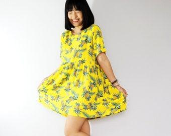 Pineapple print cotton smock dress, Loose babydoll dress, Sun dress, Plaid dress, summer dress