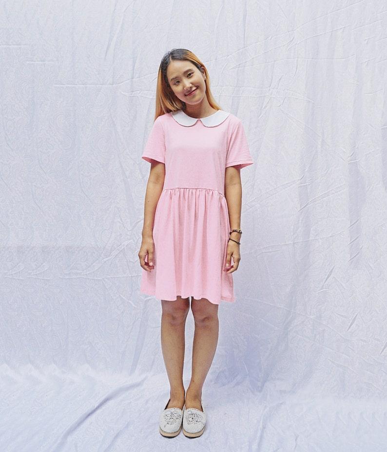 Peter pan collar cotton knit smock dress babydoll dress sun  2ab2d70fd