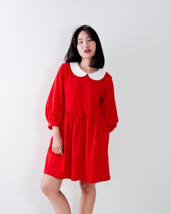 Peter pan collar long bishop puff sleeve dress / Jersey knit dress / Smock  dress / Babydoll dress / Oversized dress / Plus size dress