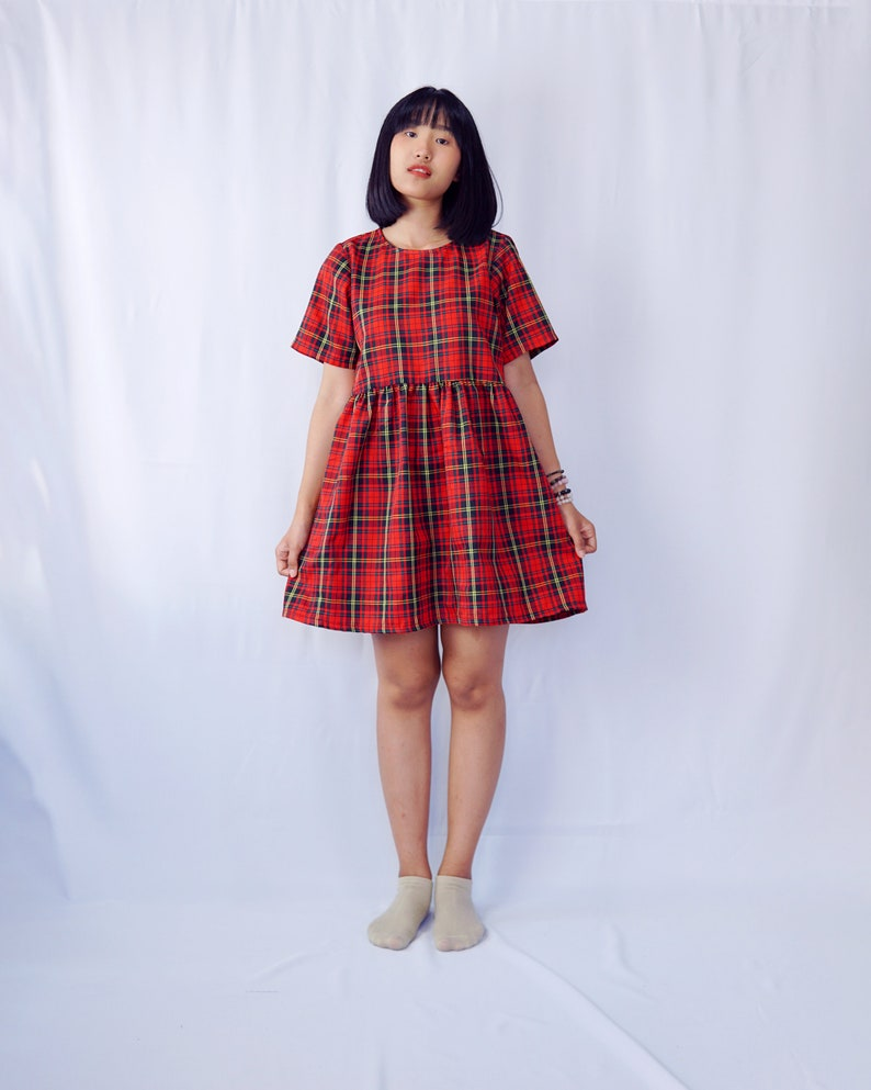 Tartan dress/ Plaid dress/ Smock dress/ Babydoll dress/ Tunic dress/ Cotton  dress/ Oversized dress/ Plus size dress