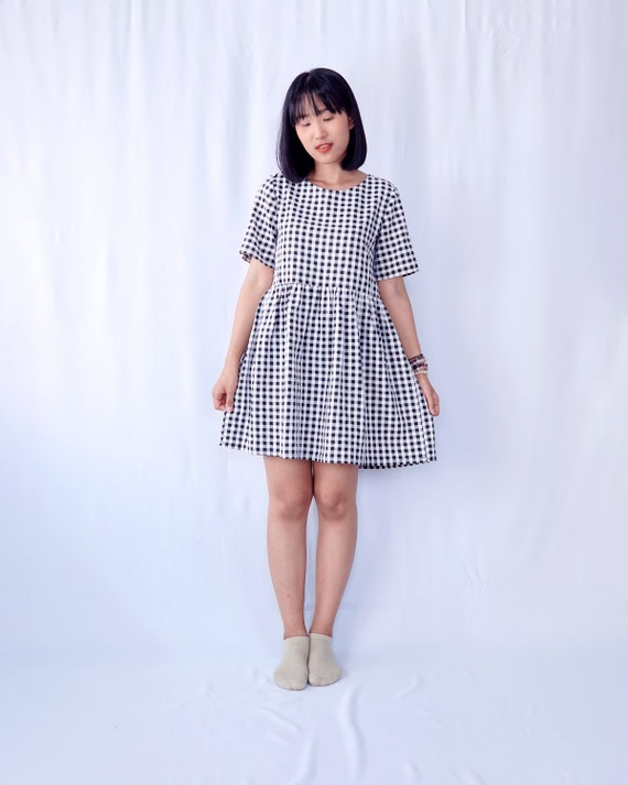 Gingham dress/ Plaid dress/ Smock dress/ Babydoll dress/ Tunic dress/  Cotton dress/ Linen dress/ Oversized dress/ Plus size dress
