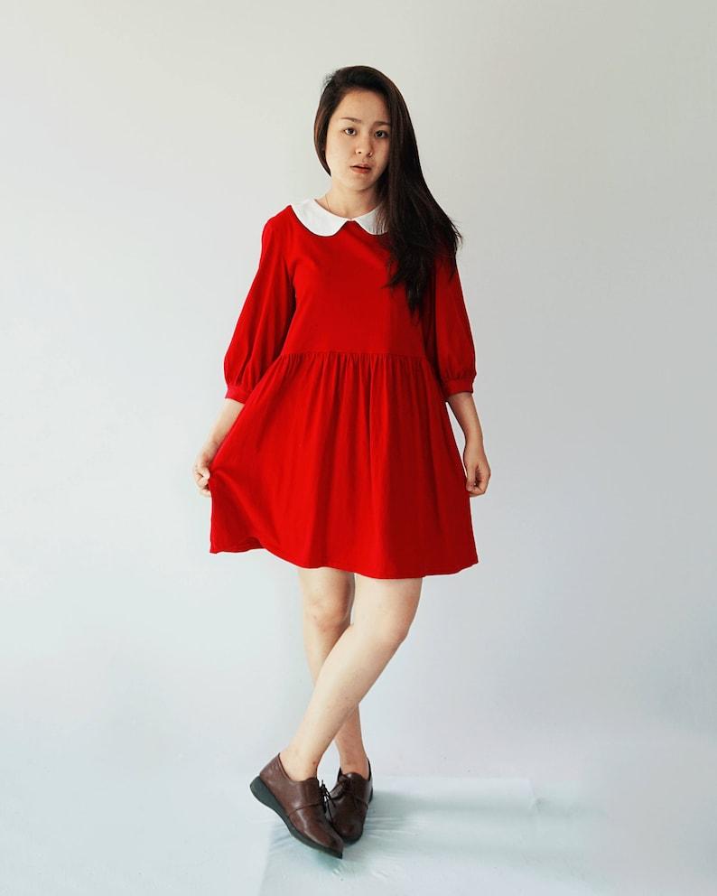Bishop sleeves peter pan collar cotton knit smock dress  7965f0788