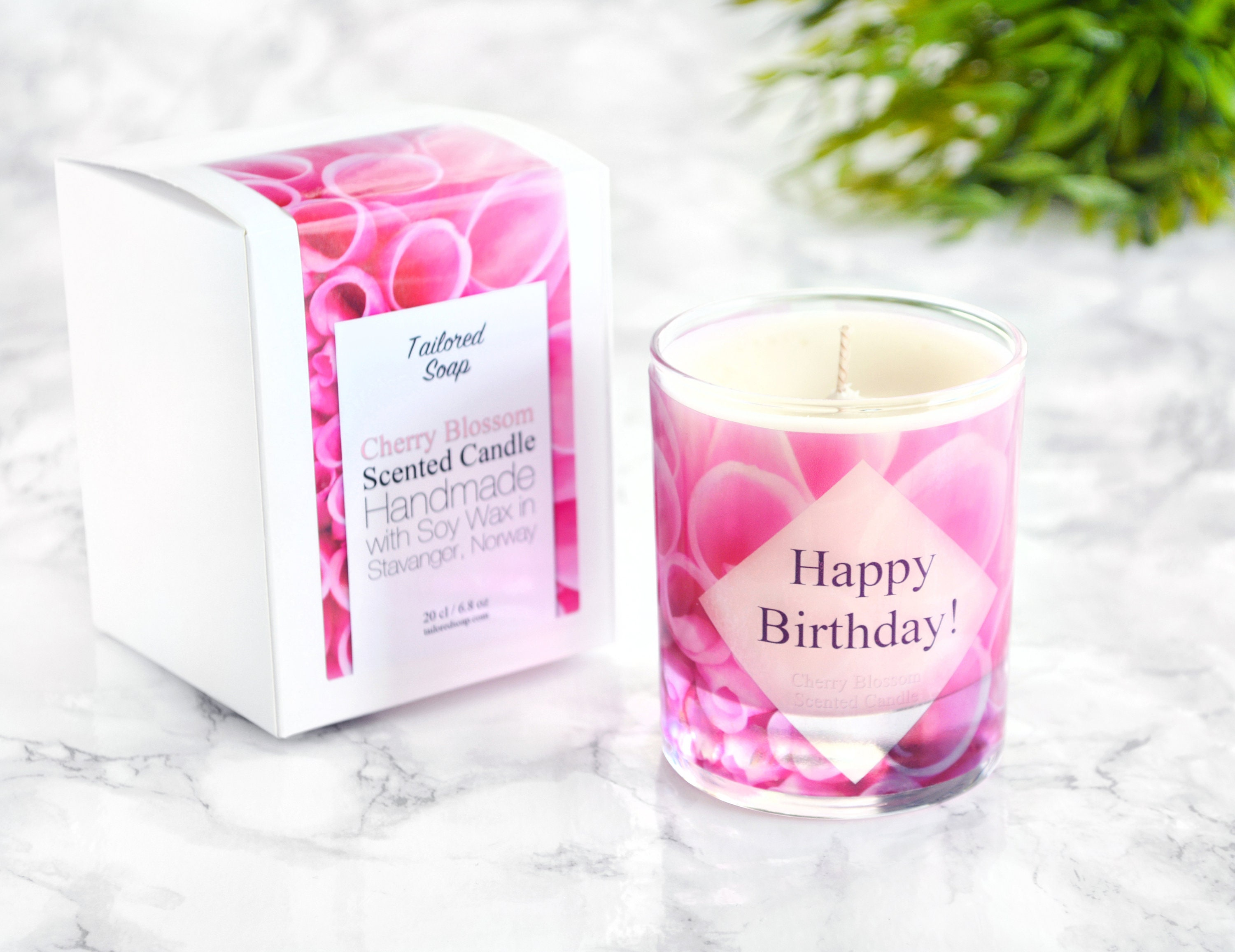 Happy Birthday Candle Gift Box For Her Cherry Blossom Candle Etsy