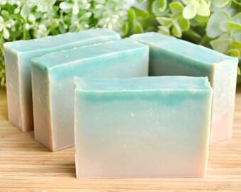 Luxury Soap - Vanilla Soap - Emerald Green Soap - Vegan Soap - Homemade Cold Process Soap - Natural Soap - Woods Amber Soap - Emerald Mist