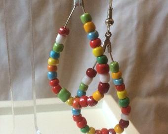 Rainbow teardrop hoops